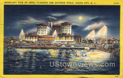 Hotel Flanders & Outdoor Pools - Ocean City, New Jersey NJ Postcard