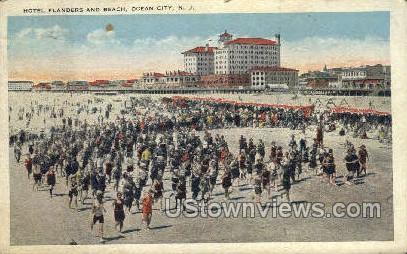 Hotel Flanders & Beach - Ocean City, New Jersey NJ Postcard