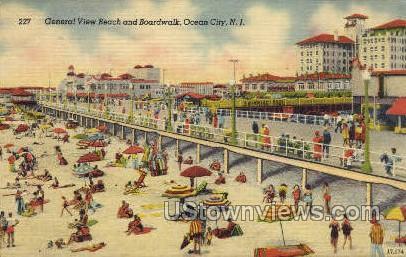 Beach & Boardwalk - Ocean City, New Jersey NJ Postcard