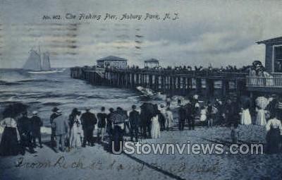 Fishing Pier - Asbury Park, New Jersey NJ Postcard