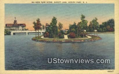 New Park Scene, Sunset Lake - Asbury Park, New Jersey NJ Postcard