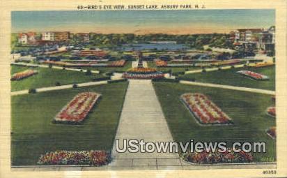 Sunset Lake - Asbury Park, New Jersey NJ Postcard