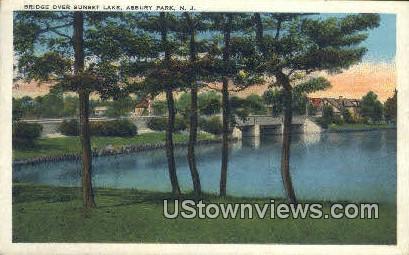 Bridge, Sunset Lake - Asbury Park, New Jersey NJ Postcard