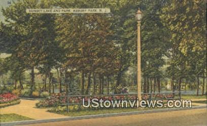 Sunset Lake & Park - Asbury Park, New Jersey NJ Postcard