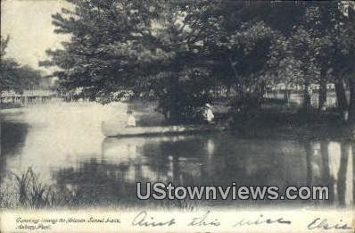 Canoeing, Island, Sunset Lake - Asbury Park, New Jersey NJ Postcard