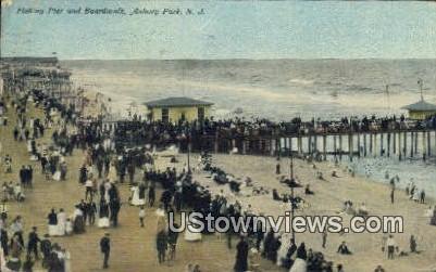 Fishing Pier & Boardwalk - Asbury Park, New Jersey NJ Postcard