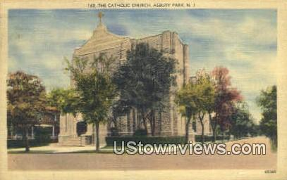 Catholic Church - Asbury Park, New Jersey NJ Postcard