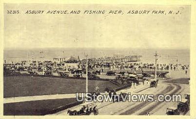 Asbury Avenue, Fishing Pier - Asbury Park, New Jersey NJ Postcard