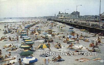 Bathing Beach & Boardwalk View - Ocean City, New Jersey NJ Postcard