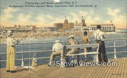 Fishing Pier & Beach - Asbury Park, New Jersey NJ Postcard