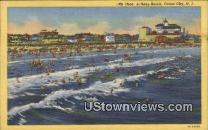14th Street Bathing Beach - Ocean City, New Jersey NJ Postcard