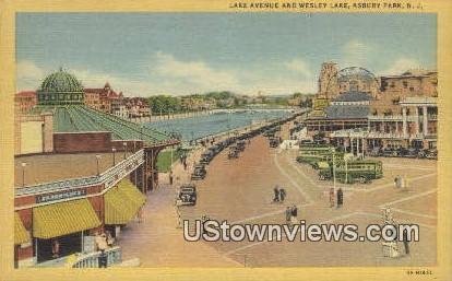 Lake Ave, Wesley Lake - Asbury Park, New Jersey NJ Postcard