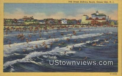 14th Street Bathing Beach - Ocean City, New Jersey NJ Postcard