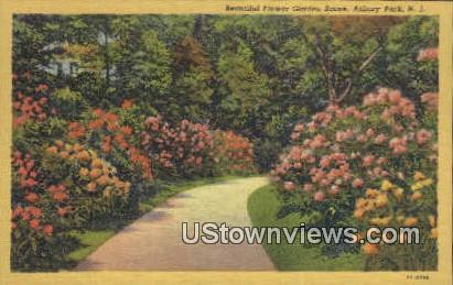 Garden Scene - Asbury Park, New Jersey NJ Postcard