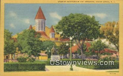 Auditorium & Grounds - Ocean Grove, New Jersey NJ Postcard