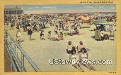 Beach Scene - Asbury Park, New Jersey NJ Postcard