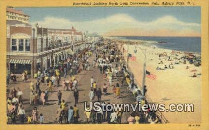 Boardwalk, Convention Hall - Asbury Park, New Jersey NJ Postcard