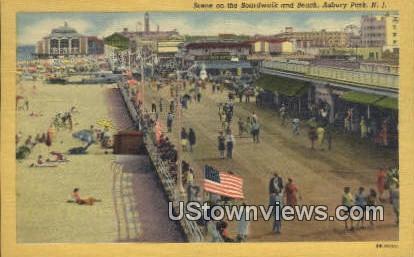 Boardwalk & Beach - Asbury Park, New Jersey NJ Postcard