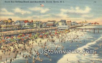 South End Bathing beach, Boardwalk - Ocean Grove, New Jersey NJ Postcard