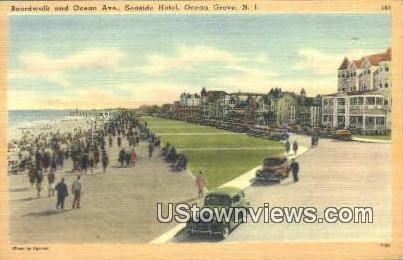 Boardwalk, Seaside Hotel - Ocean Grove, New Jersey NJ Postcard