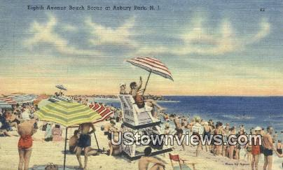 Eighth Avenue - Asbury Park, New Jersey NJ Postcard