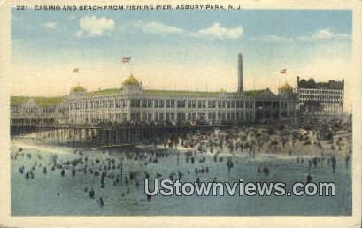 Casino, Beach, Fishing Pier - Asbury Park, New Jersey NJ Postcard