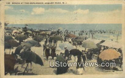Beach, Esplanade - Asbury Park, New Jersey NJ Postcard