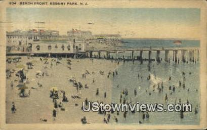 Beach Front - Asbury Park, New Jersey NJ Postcard