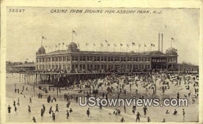 Casino, Fishing Pier - Asbury Park, New Jersey NJ Postcard