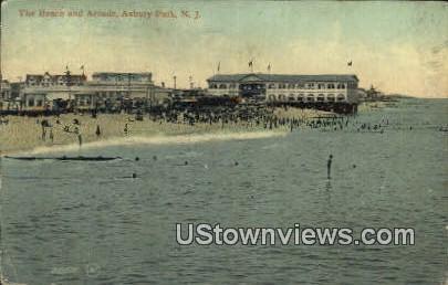 Beach & Arcade - Asbury Park, New Jersey NJ Postcard
