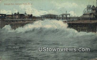 Rough Sea - Asbury Park, New Jersey NJ Postcard