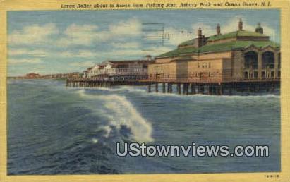 Large Roller, Fishing Pier - Ocean Grove, New Jersey NJ Postcard