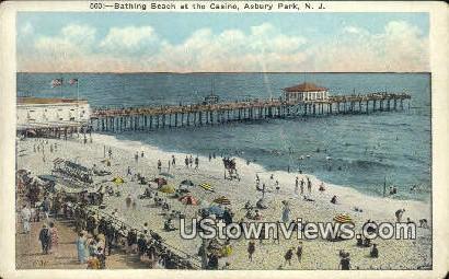 Bathing Beach - Asbury Park, New Jersey NJ Postcard