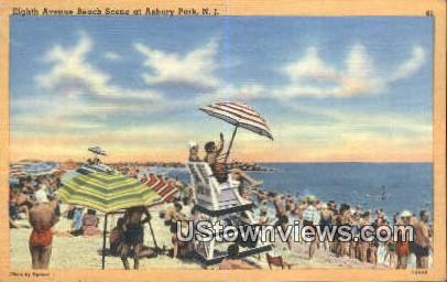Eighth Ave Beach - Asbury Park, New Jersey NJ Postcard