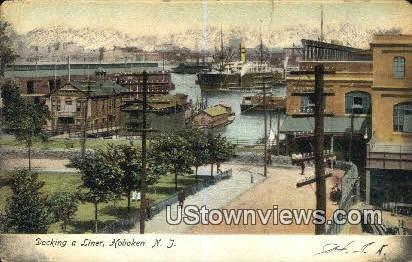 Docking a Liner - Hoboken, New Jersey NJ Postcard