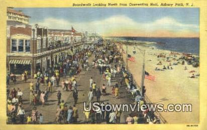 Boardwalk & Convention Hall - Asbury Park, New Jersey NJ Postcard