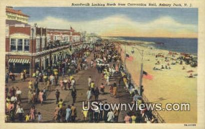 Boardwalk, Convention Hall - Asbury Park, New Jersey NJ Postcard