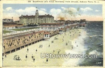 Boardwalk, Hotel Monterey - Asbury Park, New Jersey NJ Postcard