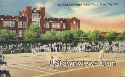 High School, Tennis Courts - Ocean City, New Jersey NJ Postcard