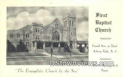 First Baptist Church - Asbury Park, New Jersey NJ Postcard