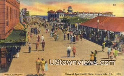 General Boardwalk View - Ocean City, New Jersey NJ Postcard