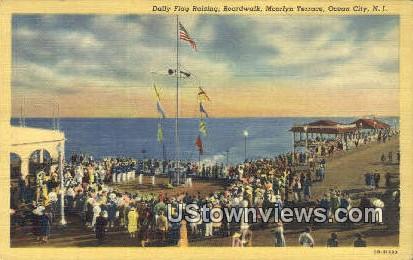 Daily Flag Raising, Boardwalk - Ocean City, New Jersey NJ Postcard