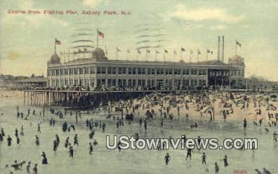Casino, Fishing Pier - Asbury Park, New Jersey NJ Postcard
