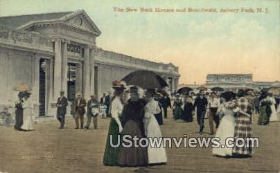 New Bath Houses & Boardwalk - Asbury Park, New Jersey NJ Postcard