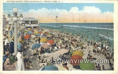 Bathing Beach, Boardwalk - Asbury Park, New Jersey NJ Postcard