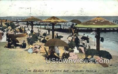 Beach, Eighth Ave - Asbury Park, New Jersey NJ Postcard