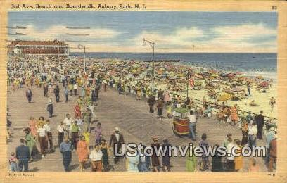 3rd Ave Beach, Boardwalkk - Asbury Park, New Jersey NJ Postcard