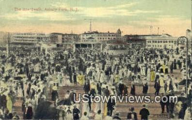 The Boardwalk - Asbury Park, New Jersey NJ Postcard