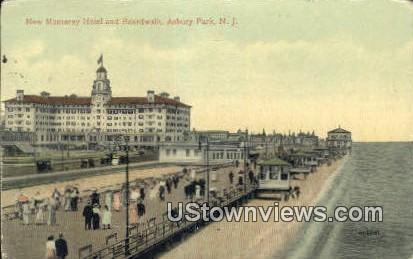 New Monterey Hotel & Boardwalk - Asbury Park, New Jersey NJ Postcard