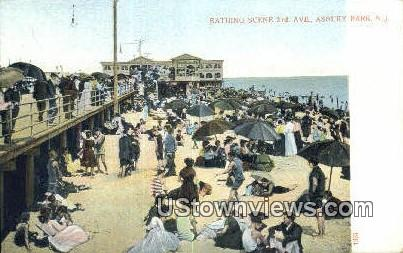 Bathing, 3rd Ave - Asbury Park, New Jersey NJ Postcard